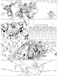 Original pencils for the story 'Twilight's Last Gleaming' part 4, set in an alternative universe, after the first Transformers movie
